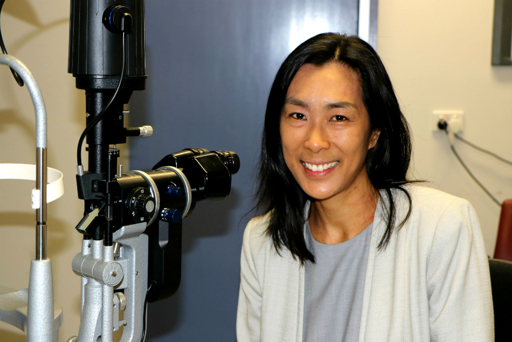Leanne Cheung in eye clinic setting